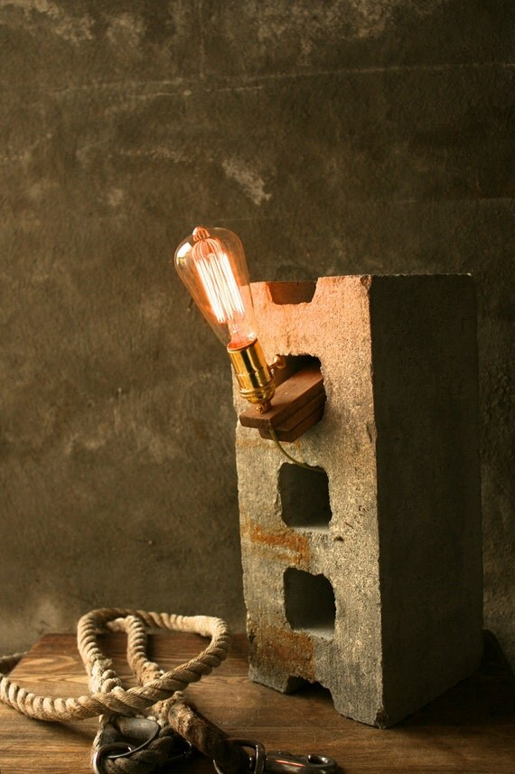 Items Similar To Wood Lamp Diy Cinderblock Lamp Industrial