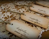 25 Rustic Wood Country Happily Ever After Wedding Wish Guest Book Tags