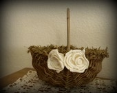 Rustic Country Floral Flower Girl Basket