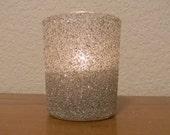 Silver German Glitter Glass Wedding Romantic Sprakle Votive Candle Holder