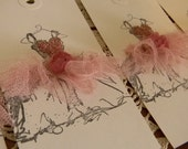 4 Bridal Tutu Dress Tags Party Favor Book Mark