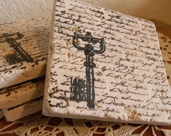 Set of 4 Script Skeleton Key Tumbled Marble Coasters