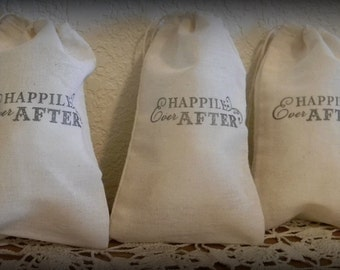 Set Of 20 Hand stamped Happily Ever After Wedding Party Favor Bags 100% organic Eco Friendly
