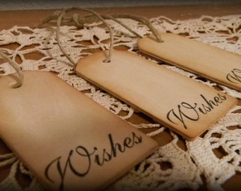 25 Rustic Country Wood Wedding Wish Tree Tags Guest Book