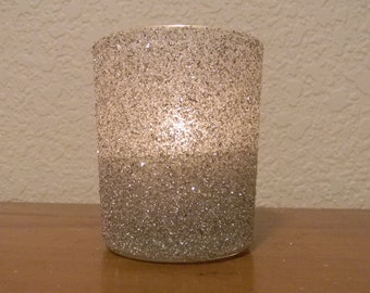 Silver German Glitter Glass Wedding Romantic Sprakle Votive Candle Holder