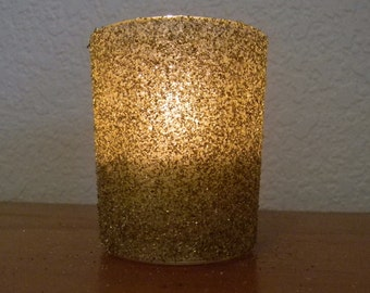 Gold German Glitter Glass Wedding Romantic Sprakle Votive Candle Holder