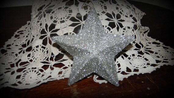 German Glitter Glass Silver 3D Star Ornament