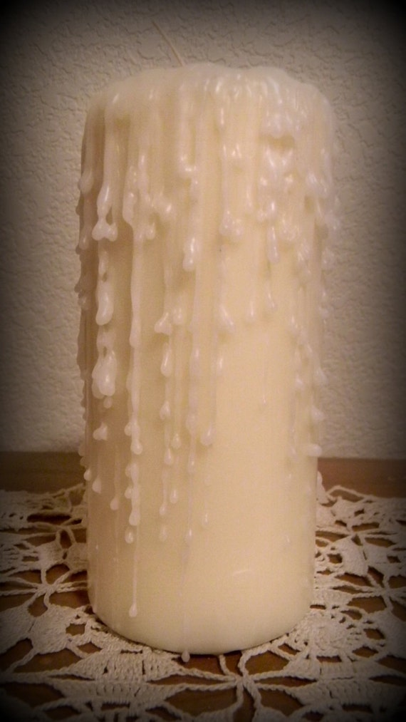 Hand Dripped Ivory And White Pillar Candle