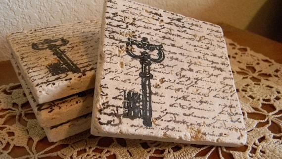 Set of 4 Script Skeleton Key Tumbled Marble Coasters