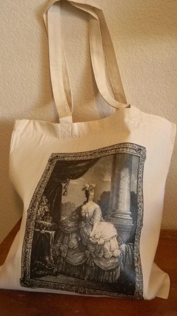 Cotton Marie Antoinette Book Market Grocery Reusable Tote Bag