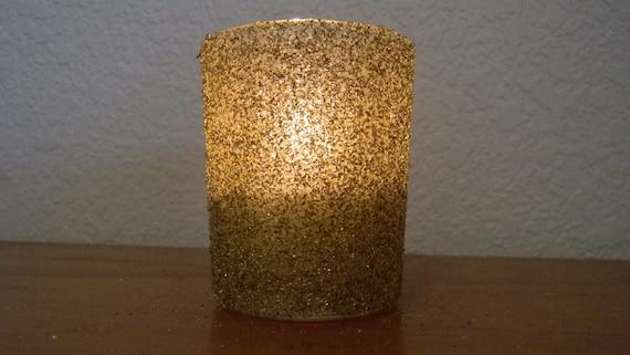 Gold German Glitter Glass Wedding Romantic Sprakle Votive Candle Holder