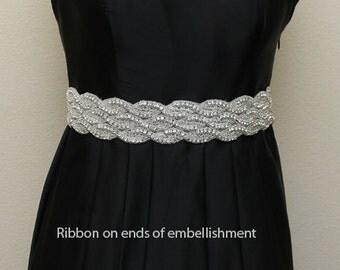 Beaded rhinestone crystal Bridal Sash Belt with satin ribbon, bridal accessories, wedding dress sash