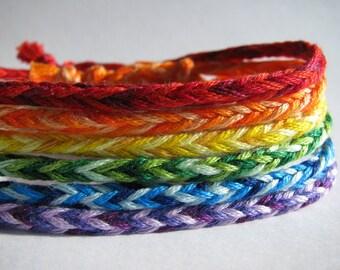 Set of Rainbow Friendship Bracelets