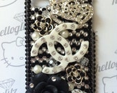 3D Black and Silver Bling iPhone 4 Case