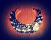 Silvertone Coin Cuff Bracelet