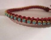Arm Party Bracelet Rhinestone Leather wrap