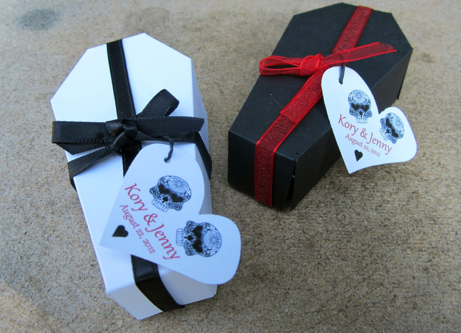 Halloween Wedding Gifts: PERSONALIZED Gothic Wedding Coffin Favor Box By