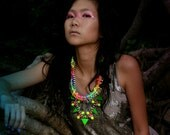 RainbowTail,  neon statement necklace, chunky rope rainbow triangle, mermaid style, statement OOAK necklace