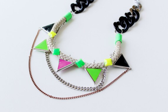 Walukar, neon tribal necklace with rope, triangles and layering chains- NEON BRIGHTS combo