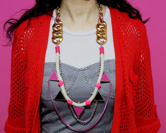 Walukar, neon pink tribal necklace with rope, triangles and layering chains, Valentine's Special
