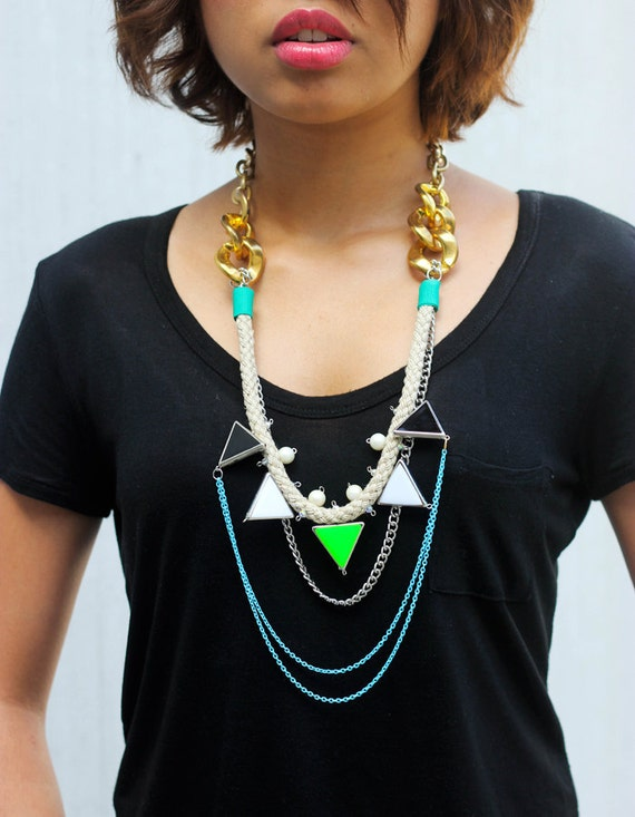 Walukar, neon tribal necklace with rope, triangles and layering chains