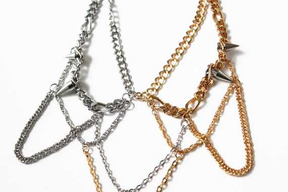 Linger, chunky chains necklace, heavy metal look studs necklace, one of a kind statement jewelry
