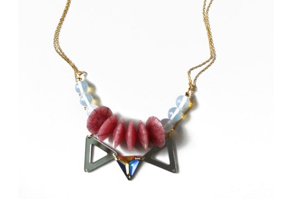 GalaticaRose, triangle necklace with moonstone and Swarovski crystal, crystal necklace