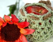 Crab Apple Cozy - Frosted Green Fleck and Cafe Brown - US Shipping Included