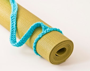 Yoga Mat Strap, Yoga Mat Sling, Turqua Blue, Slim Tote Handle - US Shipping Included,Original HH Design
