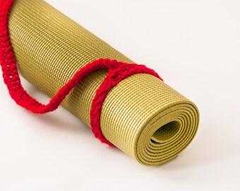 Yoga Mat Strap, Yoga Mat Sling, Yoga Bag, Cherry Red, Slim Tote Handle - US Shipping Included Original HH Design