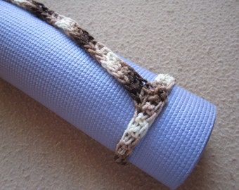 Yoga Mat Strap, Shaded Browns, Slim Tote Handle - US Shipping Included Original HH Design