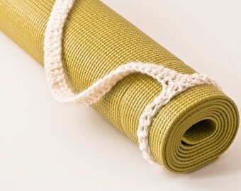 Yoga Mat Strap, Yoga Mat Sling, Aran White, Slim Tote Handle - US Shipping Included, Original HH Design
