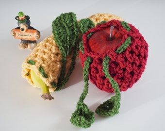 Fruit Cozies. 2 Pack Muted - 1 Apple and 1 Banana - US Shipping Included