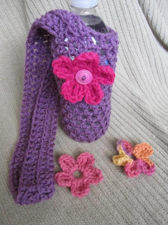 Purple Bottle Sling with 3 Interchangable Flowers