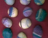 Funky Hand Felted Pebbles: embellished with hand stitching