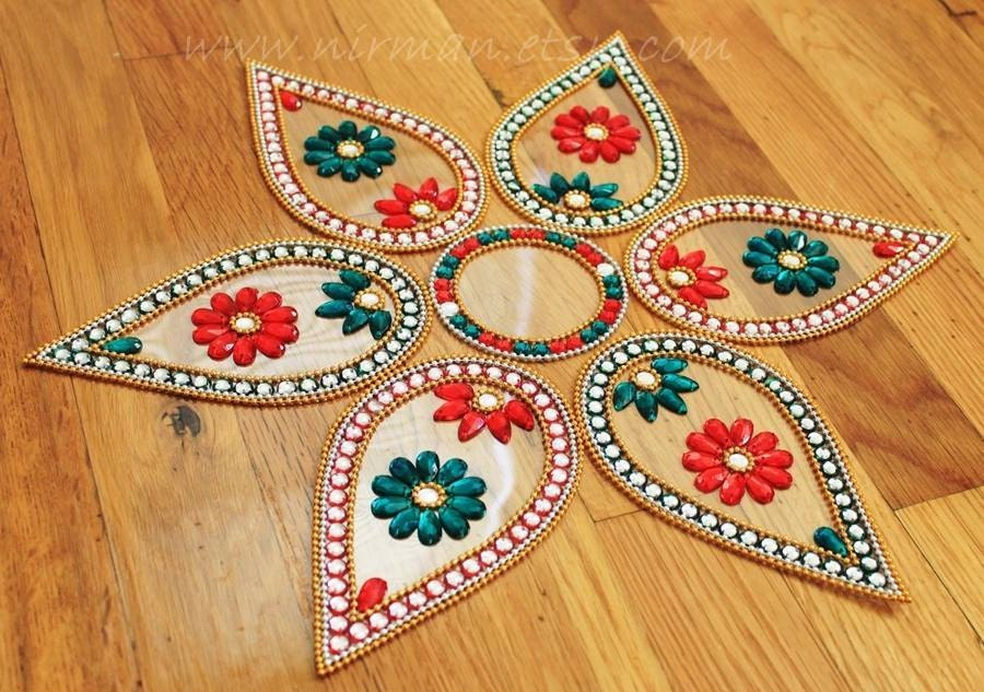 Rangoli floor art big pan dual colour stone red for Floor rangoli design