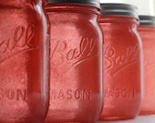 Stained Mason Jars in Coral, Set of 4