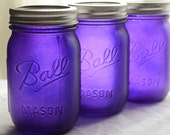 Stained Mason Jars in Blue Violet, Set of 3
