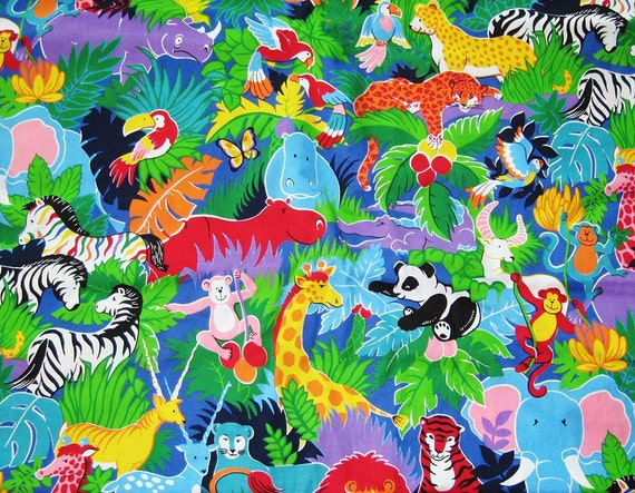 Cotton fabric jungle animals quilting fabric multi color kids for Childrens jungle print fabric