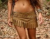 Leather suede mini skirt printed leather steampunk tribal fetish mini skirt wraparound