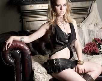 Black leather steampunk mini skirt,  leather skirt, pixie leather skirt, biker leather skirt
