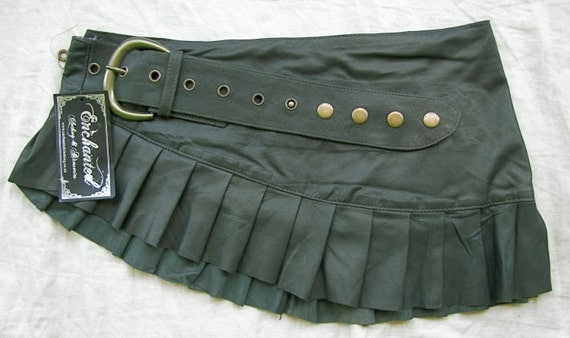 Green leather mini skirt green leather  pleated skirt tribal steampunk burlesque leather mini skirt