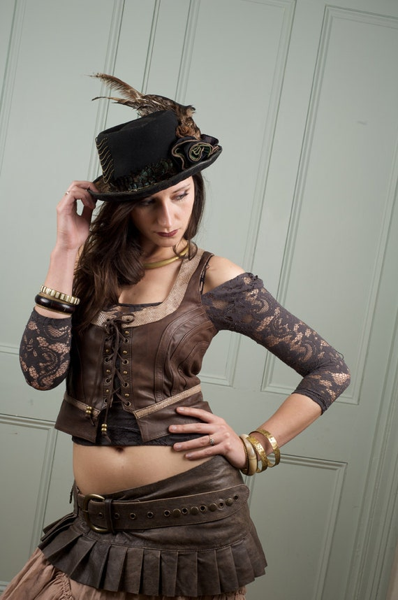 Leather vest distressed brown leather steampunk/ burlesque victorian style vest NOW ON SALE