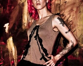 Desert Dunes Dress - Stretchy Taupe Day Dress - Black Lace Ruffles Gathers - Punk Grunge - Small - SUPER FINAL SALE!!!