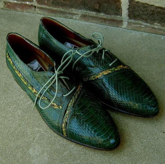 1980's Aldo Ponti two tone snakeskin shoes size 8