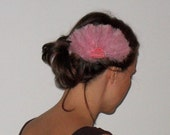 Pink feather and beads fascinator