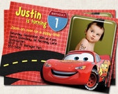 Cars Birthday Party Invitation, personalized red black (Digital File) you-print