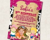 Cowgirl Birthday Party Invitation, pink, black, white, Digital File, you print