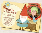 Gnome Birthday Party Invitation, elf, picnic, fairy, magical  (Digital File), you print