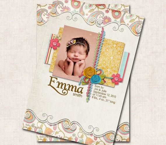 Baby Girl Birth Announcement Thank You Shower, paisley coral aqua swirl cream, Digital File